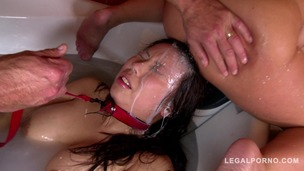 Submissive bitch Tigerr Benson Roughed up & Humiliated in Bath Tub GP013 small screenshot