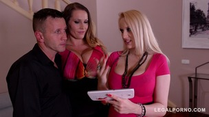 Laura Orsolya & Angel Wicky Sway Their Big Boobs in Titty Fuck Threesome GP097 small screenshot