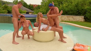 Three big cocks fuck bikini slut Mira Sunset & DP Christen Courtney by the pool GP138 small screenshot