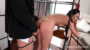 Glamour pornstar Anissa Kate fucked with double strap-on in BDSM XXX porn GP190 small screenshot