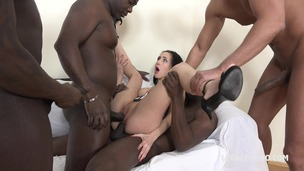 Nicole Love wants to know what it feels like to have four black cocks. She fucks and sucks four black guys IV042 small screenshot