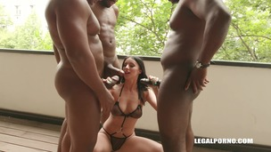 Young cutie Nelly Kent is coming to face four black bulls and gets double anal IV182 small screenshot