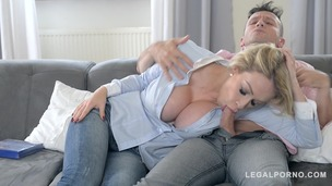 Two dudes bang leggy busty blondie Chessie Kay during soccer break at home GP475 small screenshot