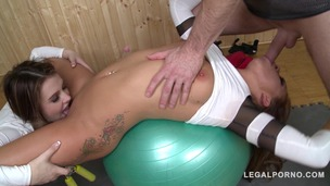 Naughty gym babes Bella Baby & Timea Bela fucked Hardcore by instructor GP803 small screenshot