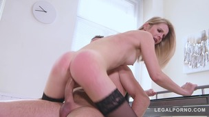 Blonde secretary Rose Delight fucked on the office desk by horny boss GP892 small screenshot