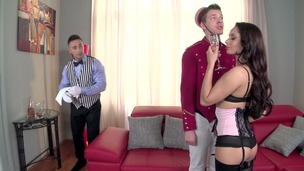 Petite bombshell Aurelly Rebel crams her mouth with two dicks at hotel room GP1026 small screenshot