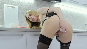 Sexy maid Nikki Riddle tries to cook but ends up toying her ass & pussy OTS275 small screenshot