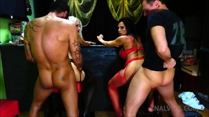 Foursome sex in the bar with Horny big ass babes OTS662 small screenshot